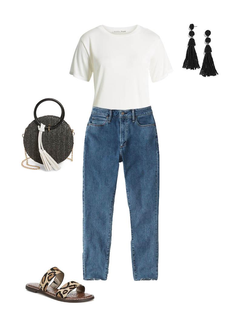 تیشرت سفید زنانه را به این روش همراه با شلوار جین بپوشید